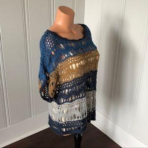NWT Lucky Brand Crochet Boho Open Knit Dolman Top